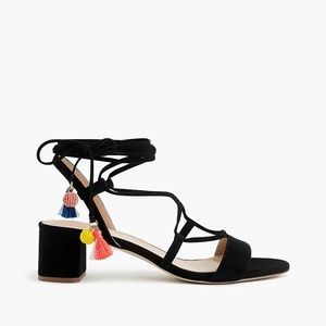 NEW J.Crew black suede lace-up sandals tassel 7